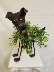 Metal Buddy Dog Planter