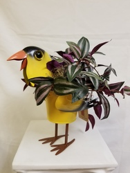 Metal Painted Goldfinch Planter