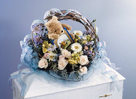 Child's Blue & Ivory Faux Basket Casket Spray